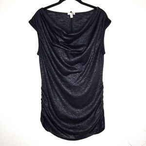 3 for $40! Bongo Drape Neck Shine Size-Ruched Top